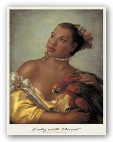 Lady with Parrot Art Print - Tim Ashkar