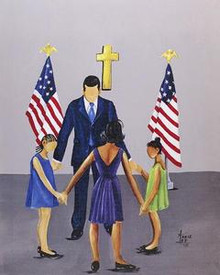 A Family That Prays Together Stays Together - Barack Obama Art Print - Annie Lee
