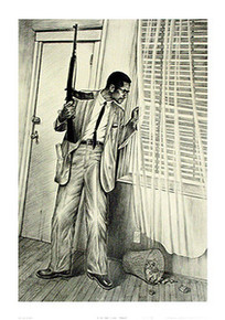 By Any Means Necessary Memorial 18 x 12  (Malcolm X) Art Print - Mr. Bing