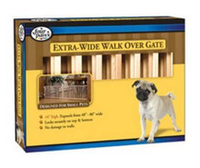 Four Paws Extra-Wide Walk-Over Wood Gate, Natural, Wood, 80L x 18H in.