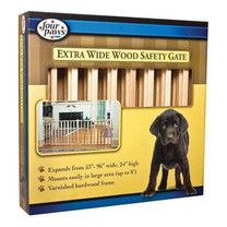 Four Paws Vertical Wood Slat Gate, Natural, Wood, 96L x 24H in.