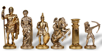 "Archers Theme Chess Set Brass & Nickel Pieces - 3.75"" King"