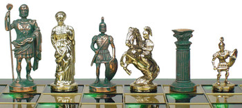 """Romans Theme Chess Set Green Antiqued Copper & Brass Pieces - 3.75"""" King"""