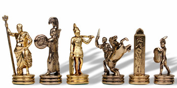 "Small Poseidon Theme Chess Set Brass & Nickel Pieces - 2.5"" King"