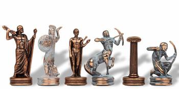 "Hercules Theme Chess Set Antiqued Blue Copper & Copper Pieces - 2.25"" King"