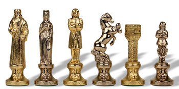 "Renaissance Theme Chess Set Brass & Nickel Pieces - 3.25"" King"