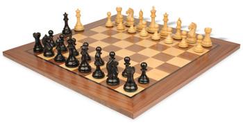 Fierce Knight Staunton Chess Set in Ebonized Boxwood with Walnut Chess Board - 3 5 King