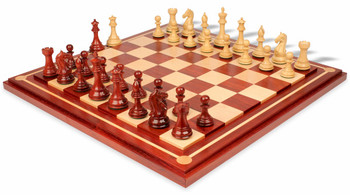 Fierce Knight Staunton Chess Set in African Padauk and Boxwood with Mission Craft African Padauk Chess Board - 3 5 King