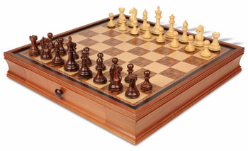 Fierce Knight Staunton Chess Set in Rosewood and Boxwood with Walnut Chess Case - 3 5 King