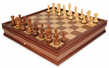 Fierce Knight Staunton Chess Set in Golden Rosewood and Boxwood with Walnut Chess Case - 4 King