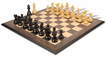 French Lardy Staunton Chess Set in Ebonized Boxwood and Boxwood withTiger Ebony and Maple Chess Board - 3 75 King