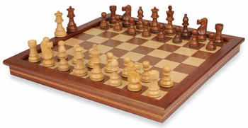 "French Lardy Staunton Chess Set in Golden Rosewood & Boxwood with Walnut Folding Chess Case - 3.25"" King"