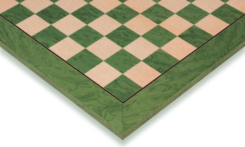 """Green Ash Burl & Erable High Gloss Deluxe Chess Board - 2.375"""" Squares"""