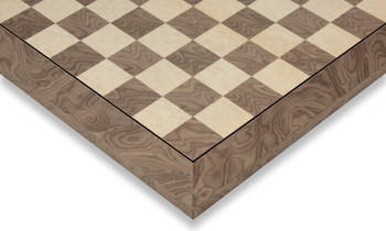 """Gray Ash Burl & Erable High Gloss Deluxe Chess Board - 1.75"""" Squares"""