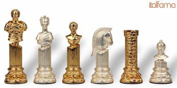 Roman Emperor Bust Theme Chess Set Gold & Silver Pieces