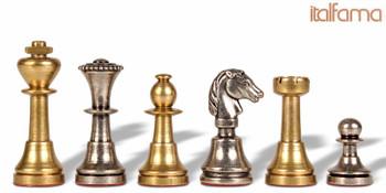Miniature Staunton Brass Chess Set by Italfama