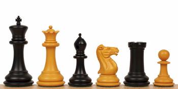 "1849 Heirloom Staunton Chess Set in Antiqued Ebony & Boxwood - 4.4"" King"