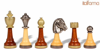 Classic Persian Staunton Brass & Wood Chess Set (Brown)