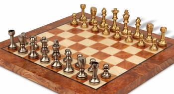 Bookshelf Abstract Knight Brass Chess Set Package