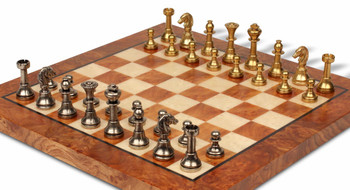 Bookshelf Miniature Staunton Brass Chess Set Package