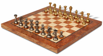 Bookshelf Miniature Staunton Brass Chess Set Package
