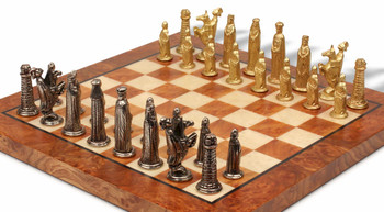 Bookshelf Small Medieval Brass Chess Set Package