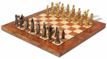 Bookshelf Small Medieval Brass Chess Set Package