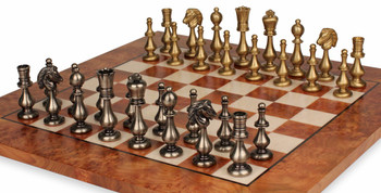 Classic Oriental Staunton Brass Chess Set Deluxe Package