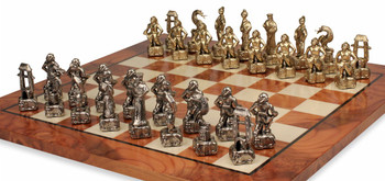 Samurai Theme Chess Set Brass and Nickel Pieces with Elm Burl Chess Board
