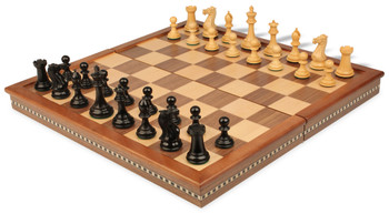 New Exclusive Staunton Chess Set in Ebonized Boxwood with Walnut Folding Chess Case - 3 King