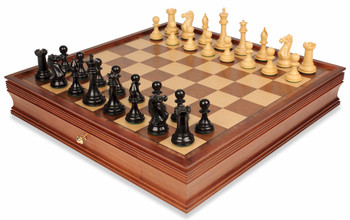 "New Exclusive Staunton Chess Set in Ebonized Boxwood & Boxwood with Large Walnut Chess Case - 4"" King"