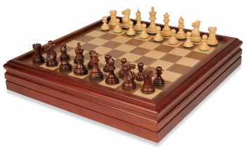 New Exclusive Staunton Chess Set in Rosewood and Boxwood with Walnut Chess and Backgammon Case - 3 King