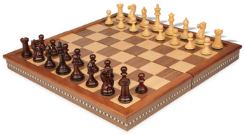 New Exclusive Staunton Chess Set in Rosewood and Boxwood with Walnut Folding Chess Case - 3 King