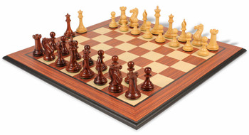 New Exclusive Staunton Chess Set Rosewood and Boxwood with Rosewood Molded Chess Board - 3 5 King