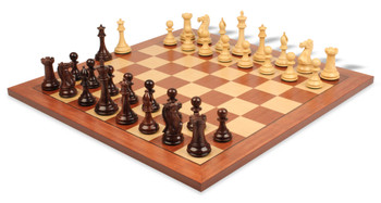 New Exclusive Staunton Chess Set Rosewood and Boxwood with Mahogany and Maple Chess Board - 3 5 King