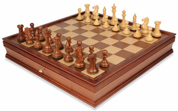 "New Exclusive Staunton Chess Set in Golden Rosewood & Boxwood with Large Walnut Chess Case - 4"" King"