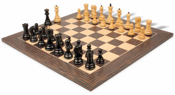 Yugoslavia Staunton Chess Set in Ebony and Boxwood with Tiger Ebony and Maple Deluxe Chess Board - 3 25 King