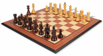 Yugoslavia Staunton Chess Set in Rosewood and Boxwood with Rosewood Molded Chess Board - 3 25 King