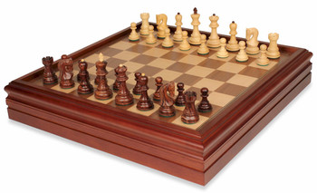 Yugoslavia Staunton Chess Set in Rosewood and Boxwood with Walnut Chess and Backgammon Case - 3 25 King