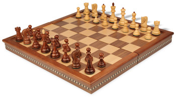 Yugoslavia Staunton Chess Set in Rosewood and Boxwood with Walnut Folding Chess Case - 3 25 King