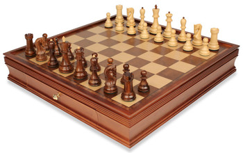 Yugoslavia Staunton Chess Set in Golden Rosewood and Boxwood with Large Walnut Chess Case - 3 875 King