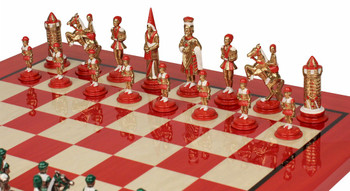Camelot Theme Chess Set in Brass and Nickel and Hand Painted with Deluxe Chess Board