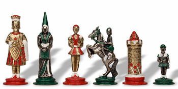 Camelot Theme Chess Set Brass & Nickel Hand Painted Pieces