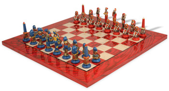 Egyptian Hand Painted Deluxe Chess Set Package