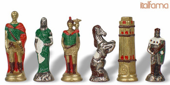 Romans & Barbarians Theme Chess Set Brass & Nickel Hand Painted Pieces