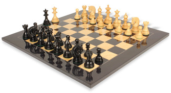 Patton Staunton Chess Set in Ebony and Boxwood with Black and Ash Burl Chess Board - 4 25 King
