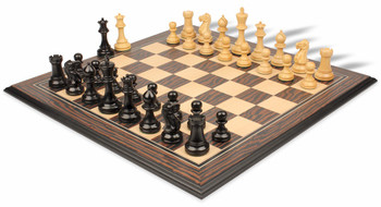 Parker Staunton Chess Set in Ebonized Boxwood and Boxwood with Tiger Ebony and Maple Molded Chess Board - 3 75 King