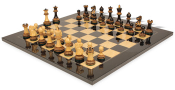 Parker Staunton Chess Set in Burnt Boxwood with Black Ash Burl Chess Board - 3 75 King