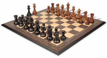 Parker Staunton Chess Set in Ebonized Boxwood and Golden Rosewood with Tiger Ebony and Maple Molded Chess Board - 3 75 King
