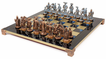 Knights Theme Chess Set Antiqued Blue Copper and Copper Pieces - Blue Board